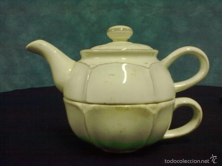 TETERA TAZA CAFETERA LOZA (Vintage - Decoración - Porcelanas y Cerámicas)