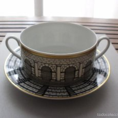 Vintage: FORNASETTI ROSENTHAL TAZA CONSOME Y PLATO PORCELANA ARQUITECTURA. Lote 57917419
