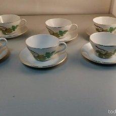 Vintage: JUEGO DE CAFÉ DE 6 TAZAS Y 6 PLATERAS DE PORZELANIT MADE IN SPAIN.. Lote 58139943
