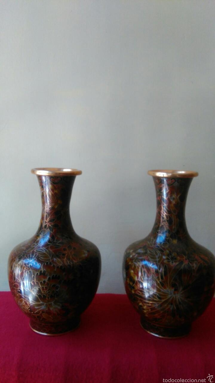 PAREJA DE JARRONES CHINOS CLOISINE (Vintage - Decoración - Jarrones y Floreros)