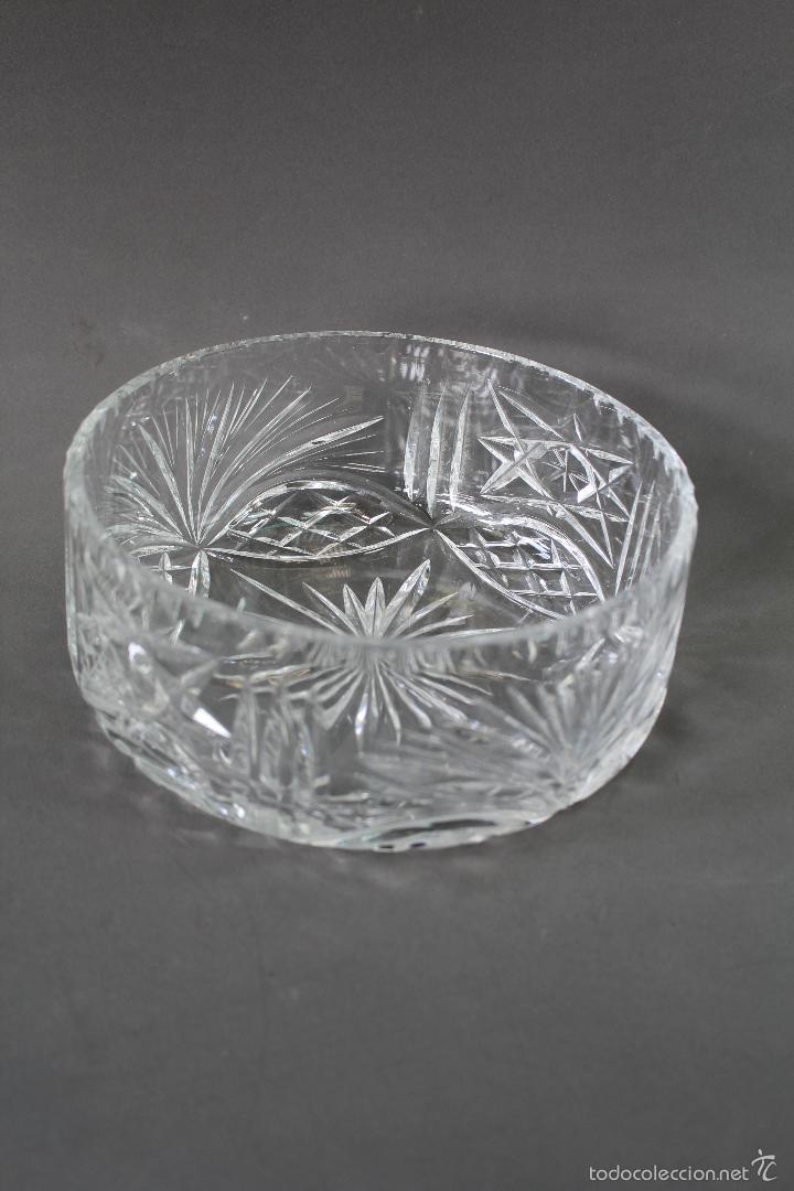 CENTRO, FRUTERO EN CRISTAL TALLADO (Vintage - Decoración - Cristal y Vidrio)