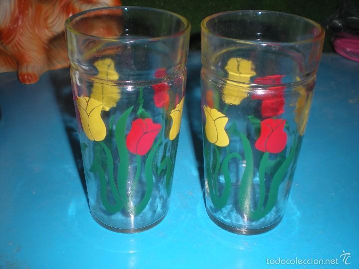 Par De Vasos De Cristal Decorados Con Flores Diámetro 75cm Y Altura 15cm