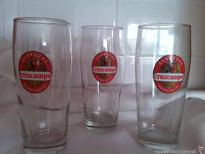 3 vasos vaso grandes de cerveza cruzcampo sin u comprar cristal y vidrio vintage en - Vasos grandes cristal ...