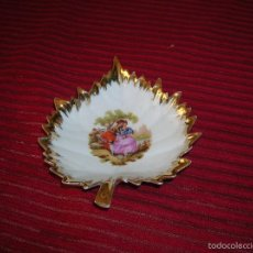 Vintage: PLATITO EN FORMA DE HOJA ,PORCELANA LIMOGES FRANCE. Lote 58627320