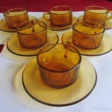 Vintage: TAZAS DE CAFE ELSADUR AMBAR VINTAGE. Lote 58637882