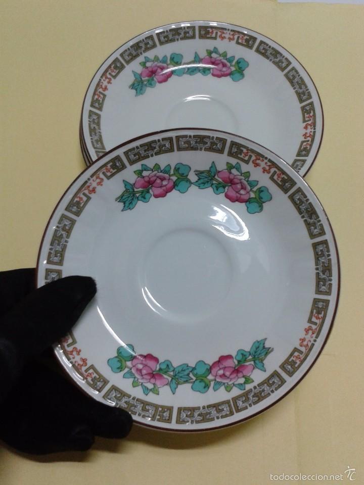 4 PLATITOS PORCELANA PONTESA SANTA CLARA SPANISH CROWN DECORACIÓN CHINESCA ROSA Y VERDE. 11,8 CM. (Vintage - Decoración - Porcelanas y Cerámicas)