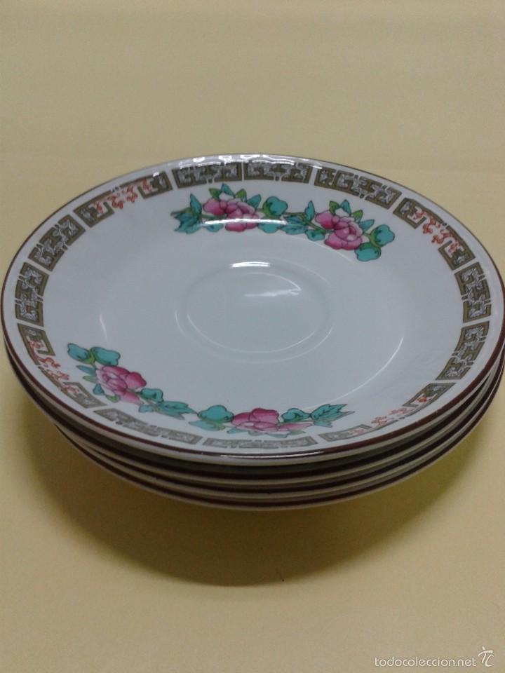 Vintage: 4 Platitos Porcelana PONTESA SANTA CLARA Spanish Crown decoración chinesca rosa y verde. 11,8 cm. - Foto 2 - 166334329