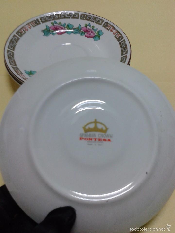 Vintage: 4 Platitos Porcelana PONTESA SANTA CLARA Spanish Crown decoración chinesca rosa y verde. 11,8 cm. - Foto 3 - 166334329