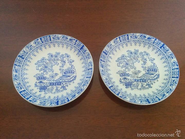 2 PLATOS PONTESA (1960) (Vintage - Decoración - Porcelanas y Cerámicas)