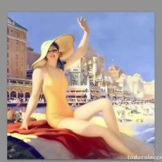 Vintage: AZULEJO 10X10 ESTILO VINTAGE DE MUJER EN LA PLAYA. Lote 61569848