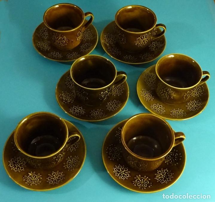 JUEGO DE DESAYUNO COMPUESTO DE 6 PLATOS Y 6 TAZAS. PONTESA MODELO ESCOCIA (Vintage - Decoración - Porcelanas y Cerámicas)