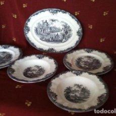 Vintage - La Cartuja-Pickman. Una Fuente , dos platos hondos y dos llanos - 62779864