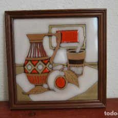 Vintage: AZULEJO DE CERÁMICA - AÑOS 60 - ITALIA - ENMARCADO. Lote 63353240
