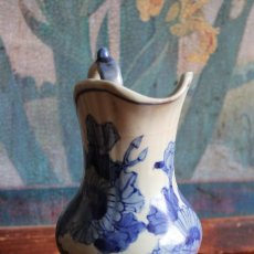 Vintage: JARRA PORCELANA CHINA JARRITA LECHERA AZUL Y BLANCA 15 CM. Lote 63563680