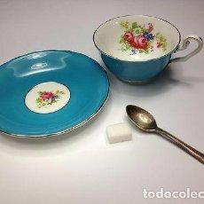 Vintage: TAZA CON PLATO EN AZUL CON DECORACIÓN INTERIOR DE FLOR. . Lote 66475850