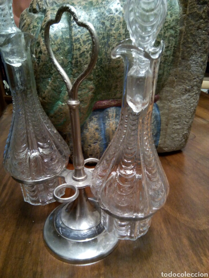 * ANTIGUO CONVOY. VINAGRERAS.. (RF:GC/D) (Vintage - Decoración - Cristal y Vidrio)