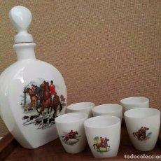 Vintage - BOTELLA PORCELANA DE LIMOGES HUNTING Y CINCO VASITOS - 66830458