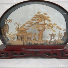 Vintage: BONITO MARCO DE ARTE CHINO EN CORCHO O BAMBU (CREO). Lote 67106453