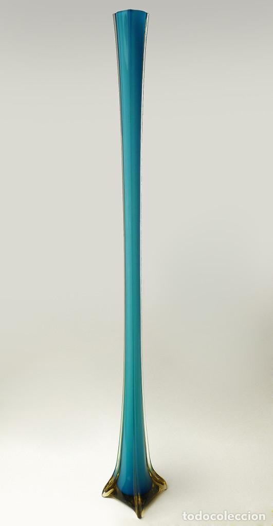 jarrn alto florero xl cristal de murano azul turquesa vintage aos