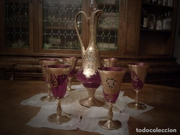 Vintage: juego de cristal de murano jarra con tapon y 6 copas color rojo y oro - Foto 4 - 67327793