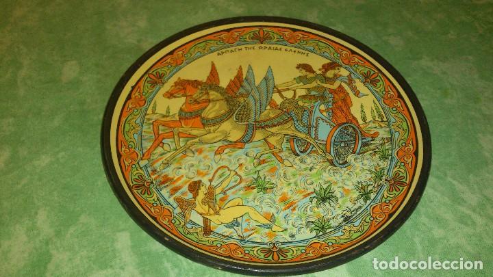 PRECIOSO PLATO GRIEGO DE CERAMICA PARA DECORACION. (Vintage - Decoración - Porcelanas y Cerámicas)