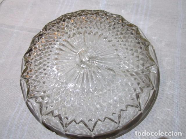 Vintage: Aperitivera de cristal tallado con borde metálico. 22,5 cms. diámetro - Foto 3 - 67479773