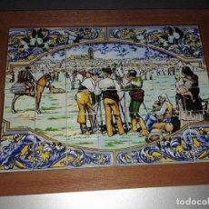 Vintage: BONITA BANDEJA PUZZLE DE BALDOSINES DECORADOS DE CERAMICA. Lote 67618221