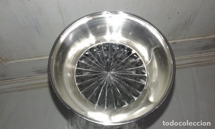 Vintage: Jarrón de cristal tallado y pie de plata, mediados del siglo XX - Foto 5 - 68925197