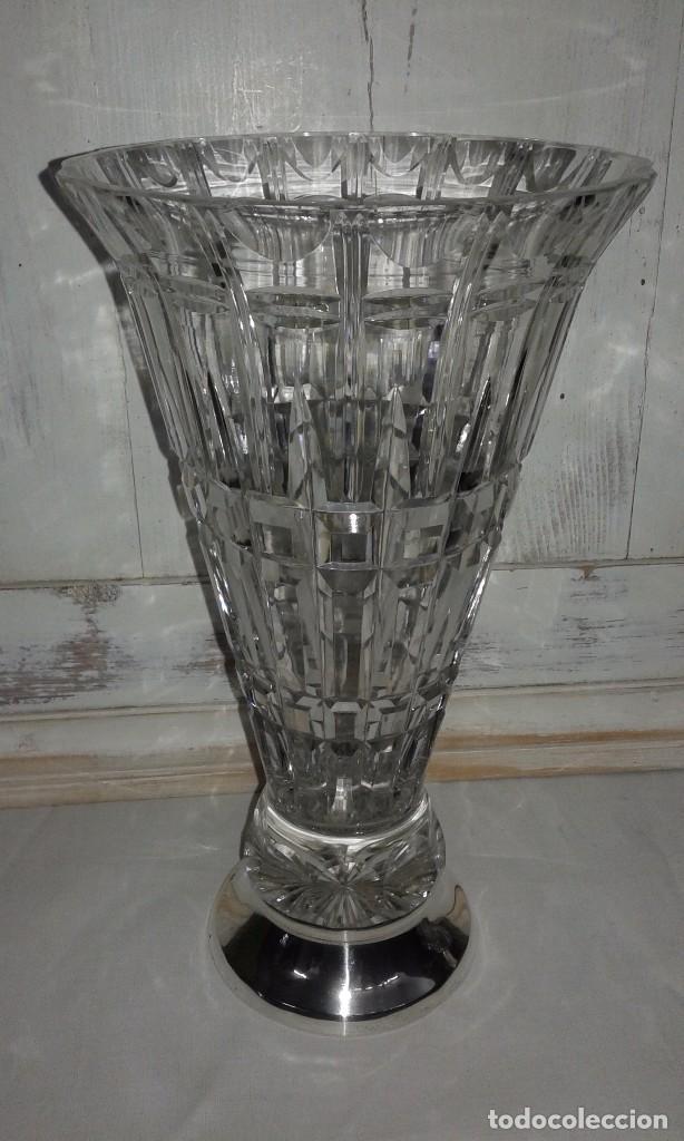 Vintage: Jarrón de cristal tallado y pie de plata, mediados del siglo XX - Foto 6 - 68925197