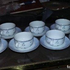 Vintage: VAJILLA CARTUXA DE PORCELANA, FLORAL CLASSIC BLUE: 7 SERVICIOS DE PLATO Y TAZA DE CONSOMÉ.. Lote 69756821