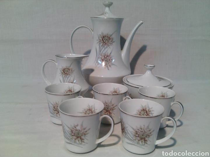 JUEGO DE CAFE PORCELANA SANTA CLARA.VINTAGE. (Vintage - Decoración - Porcelanas y Cerámicas)