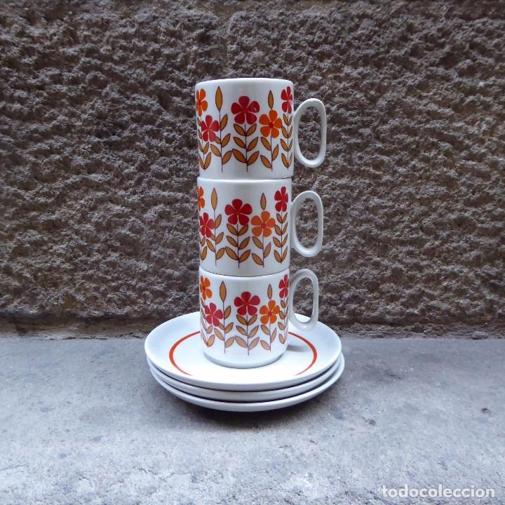3 TAZAS DE CAFÉ EN PORCELANA TOGNANA, 70S (Vintage - Decoración - Porcelanas y Cerámicas)