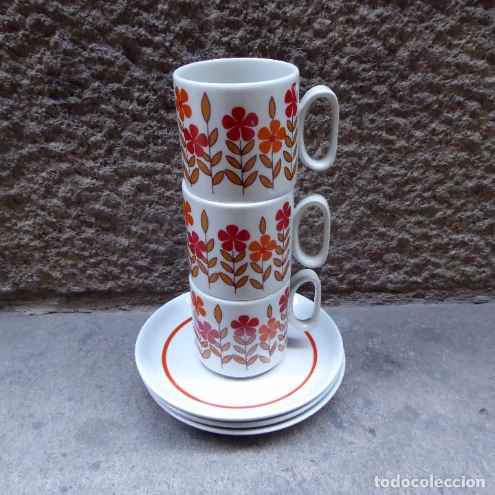 Vintage: 3 tazas de café en porcelana Tognana, 70s - Foto 4 - 70002985