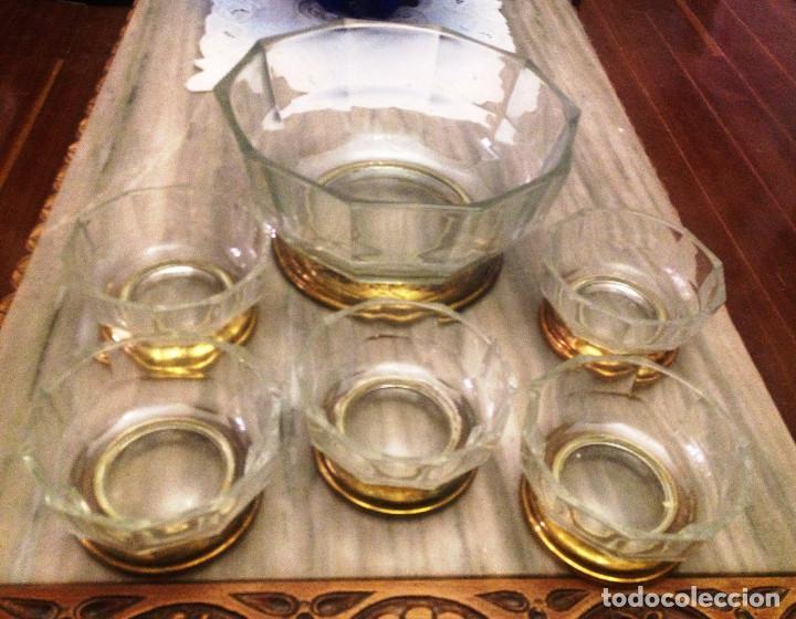 Vintage: Juego para macedonia o helados y postres. Cristal base metal dorado - Foto 2 - 70099729