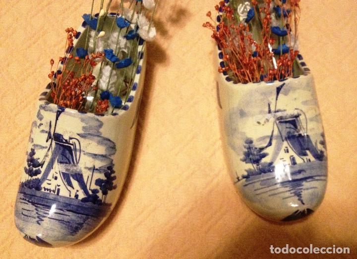 ZUECOS DE CERÁMICA HOLANDESA DECORADOS EN AZUL- (Vintage - Decoración - Porcelanas y Cerámicas)
