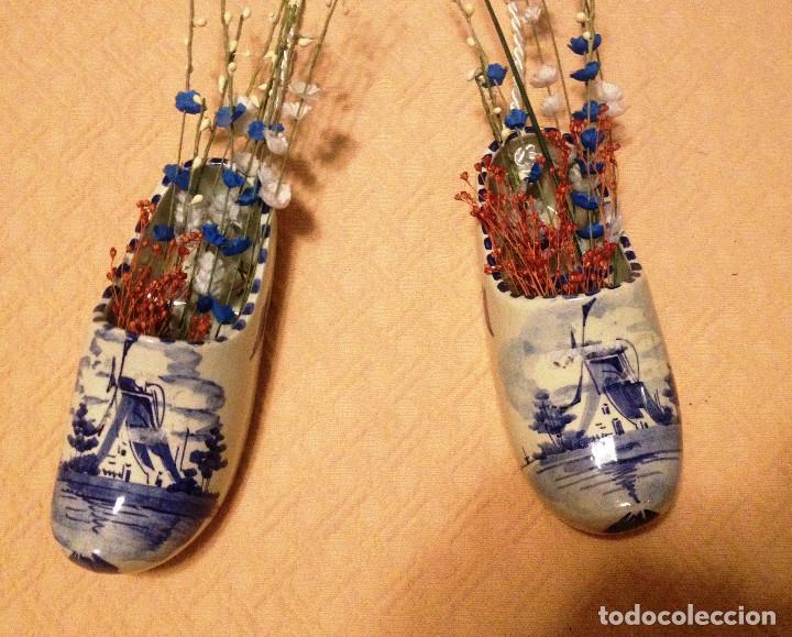Vintage: ZUECOS de cerámica holandesa decorados en azul- - Foto 2 - 71130209
