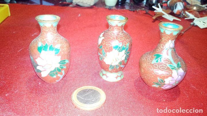 lote de pequeos jarrones decorativos pintados florales y esmaltes vintage decoracin