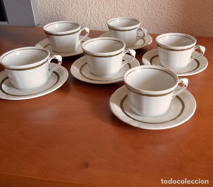 PONTESA JUEGO 6 TAZAS PORCELANA (Vintage - Decoración - Porcelanas y Cerámicas)
