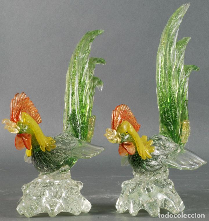 Vintage: Pareja gallos gallo cristal colores Murano años 60 - 70 - Foto 2 - 72614391