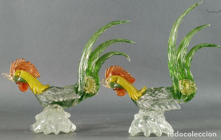 Vintage: Pareja gallos gallo cristal colores Murano años 60 - 70 - Foto 3 - 72614391