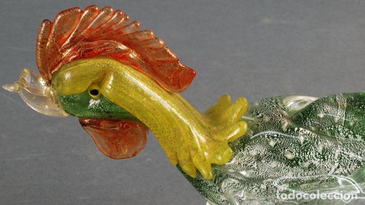 Vintage: Pareja gallos gallo cristal colores Murano años 60 - 70 - Foto 9 - 72614391