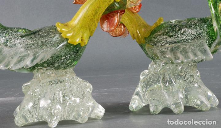 Vintage: Pareja gallos gallo cristal colores Murano años 60 - 70 - Foto 10 - 72614391