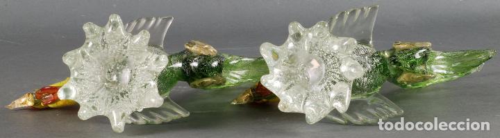 Vintage: Pareja gallos gallo cristal colores Murano años 60 - 70 - Foto 11 - 72614391