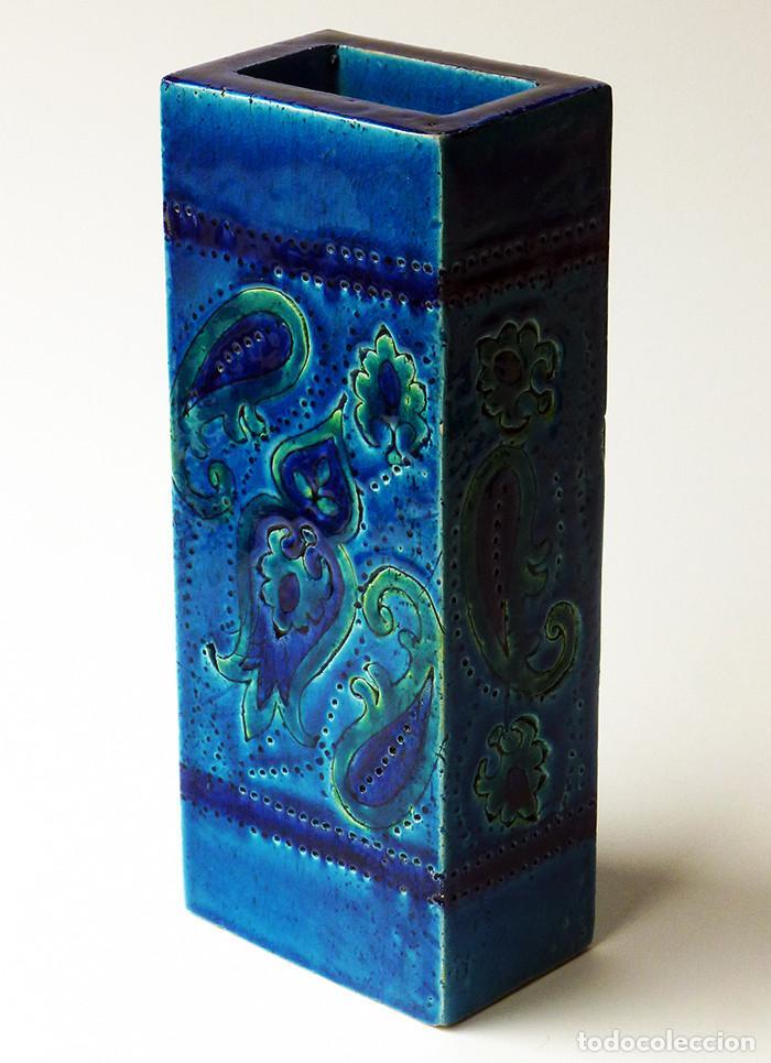 jarrn alto rectangular cermica italiana vintage rimini blu bitossi design aldo londi aos vintage