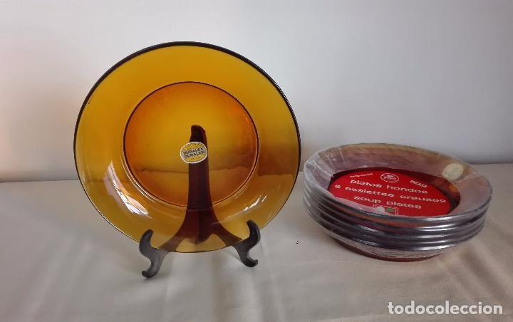 DURALEX AMBAR. 6 PLATOS HONDOS NUEVOS (Vintage - Decoración - Cristal y Vidrio)