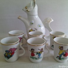 Vintage: CONJUNTO TAZAS CAFETERA CERAMICA.SERIE HEIDI-PEDRO.AÑOS 70.. Lote 74866590