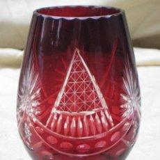Vintage: JARRON EN CRISTAL DE BOHEMIA. TALLADO A MANO.. Lote 75040423