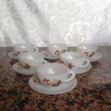 Vintage: LOTE DE 6 JUEGOS DE TAZAS DE CAFÉ ARCOPAL FLOR DE ALMENDRO. Lote 75432959