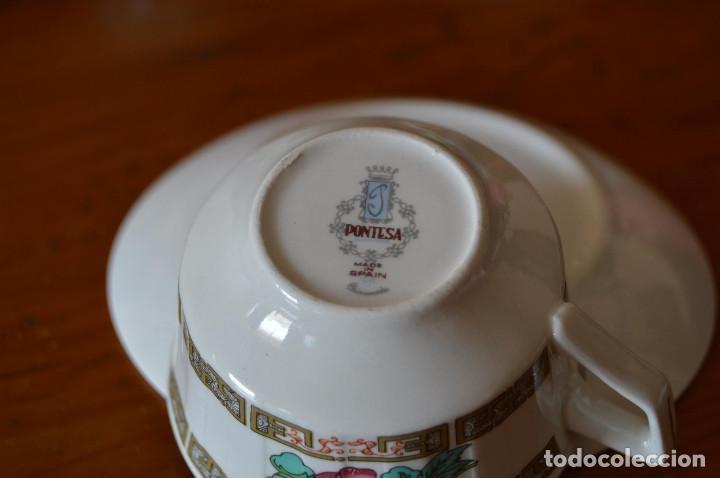 Vintage: PONTESA JUEGO 6 TAZAS DE CAFÉ DE PORCELANA - Foto 6 - 76507959