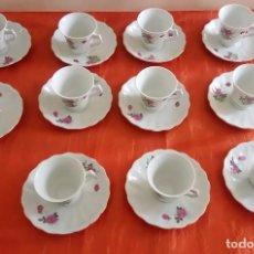 Vintage: JUEGO CHINO DE CAFÉ - ONCE TAZAS CON SUS PLATOS SELLO DE LA MARCA EN EL REVERSO. Lote 91331507